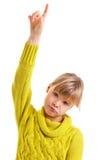 举手的女孩 免版税库存照片
