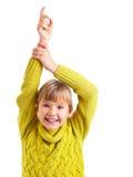 举手的女孩 库存图片
