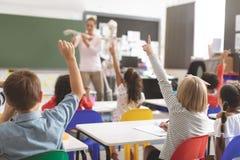 举手的学校孩子,当解释作用人的骨骼的老师在教室时 免版税库存图片