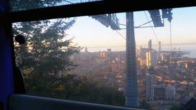 举电车在巴统 从客舱的看法在摩天大楼、房子和街道 影视素材