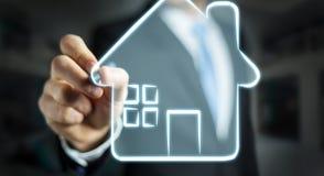举行原稿房地产计划项目的商人 免版税库存照片