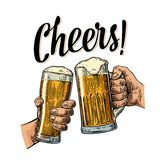 举行和叮当响与两个啤酒杯的两只手抢劫 皇族释放例证
