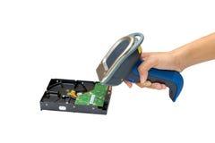举行和扫描在有无线的硬盘 库存图片