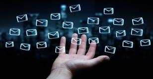 举行和接触浮动电子邮件剪影的商人 免版税库存照片