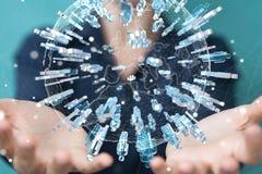 举行和接触3D的女实业家回报小组蓝色pe 免版税库存照片
