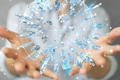 举行和接触3D的女实业家回报小组蓝色pe 免版税图库摄影
