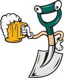 举行啤酒杯动画片的铁锹 图库摄影