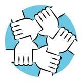 举行团结和团结的手Eachother 免版税库存图片