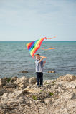 举行在天空的微笑的小男孩一次风筝飞行在海背景  免版税图库摄影