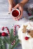 举行在手热的圣诞节茶的妇女用糖果 免版税库存图片