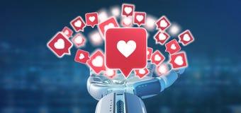 举行在社会媒介3d翻译的靠机械装置维持生命的人手一个通知 向量例证