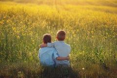 举行在肩膀上的两个小男孩朋友在晴朗的夏日 兄弟爱 概念友谊 查出的背面图白色 库存照片