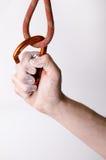 举行在绳索的手一carabine 在白色背景隔绝的上升的设备 免版税库存图片