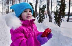 举行在他们的手心脏题材华伦泰` s天,冬天的天的小女孩在街道上的在公园 免版税图库摄影