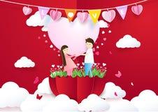 举行心脏和身分在伞的纸艺术样式夫妇 库存照片