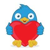 举行心脏爱的蓝色鸟 库存照片
