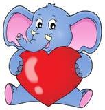 举行心脏题材图象1的大象 免版税库存图片