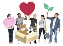 举行慈善标志的愉快的不同的人民 库存照片