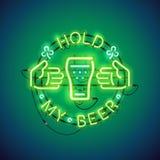 举行我的啤酒霓虹灯广告绿色 向量例证