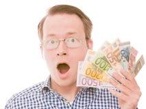 举行所有欧洲钞票震动(玻璃版本) 免版税库存照片