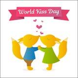 举行手和亲吻的狐狸 传染媒介例证为假日 世界亲吻天 库存照片