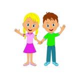举行手和微笑的男孩和女孩 免版税图库摄影