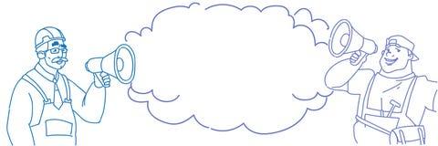 举行扩音机公告概念讲话云彩泡影通信安装工国际劳动节的两位工作员 向量例证