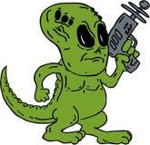 举行放射枪动画片的外籍人恐龙 免版税库存照片