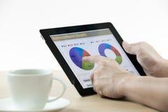 举行数字式片剂和业务报告的商人 免版税库存照片