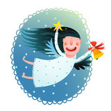 举行星和响铃飞行的逗人喜爱的天使女孩在夜圣诞快乐贺卡 库存照片