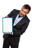举行显示的一个商人whiteboard 库存图片