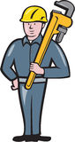 举行板钳被隔绝的动画片的水管工 免版税库存照片