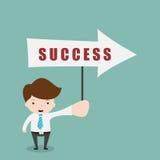 举行标志成功的商人 向量例证