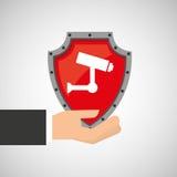 举行照相机保护数据的手 免版税库存图片