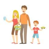 举行玩具汽车购物,从愉快的爱恋的家庭系列的例证的妈妈、爸爸和儿子 库存例证