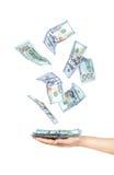 举行的一团一百元钞票 图库摄影