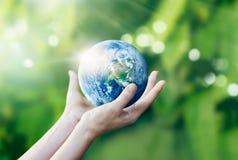 举行的手和保护在自然背景的地球 免版税库存照片