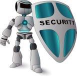 举行盾、互联网和数据保密概念的机器人 免版税库存图片