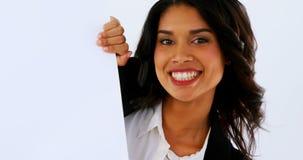 举行空白的招贴4k的女性商业主管画象  影视素材