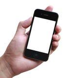举行空白的iphone的手 免版税库存照片