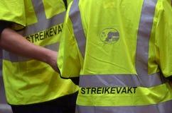举行罢工的挪威火车司机 免版税库存照片
