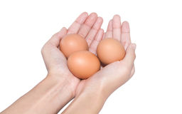 举行蛋复活节天的手 免版税库存照片