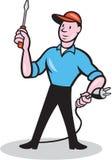 举行螺丝刀插座动画片的电工 免版税库存照片