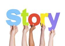 举行词故事的不同的手 免版税库存图片
