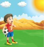 举行足球冒汗的男孩 向量例证