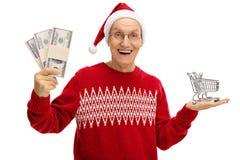 举行金钱捆绑和小空的购物的高兴前辈 库存图片