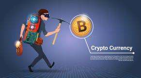 举行镐Bitcoin采矿概念数字式金钱隐藏货币概念的人 皇族释放例证