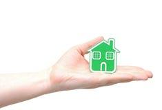 绿色Eco房子象 免版税图库摄影
