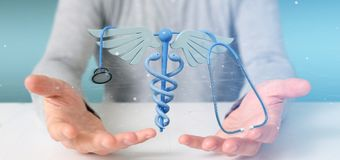 举行3d的商人redering医疗cadaceus和stethosco 库存图片