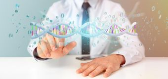 举行3d翻译数据的商人编码了脱氧核糖核酸与二进制fi 免版税图库摄影